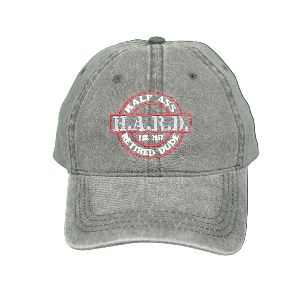 H.A.R.D. Logo Hat Grey (Red) tshirt
