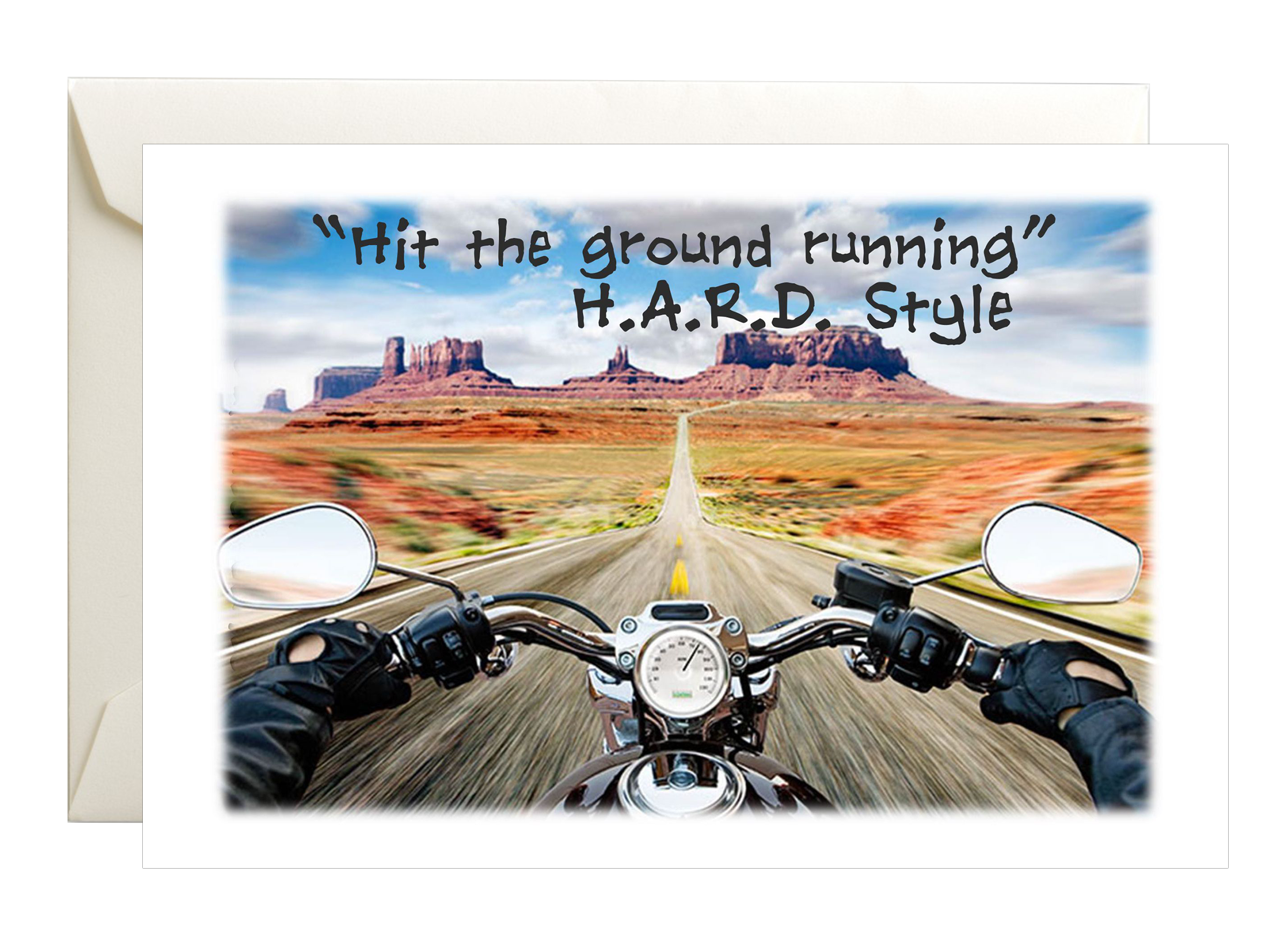 Hit the Ground Running biker riding in desert