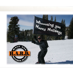 Image of guy skiing with flag that says Whoosing you happy holiday's