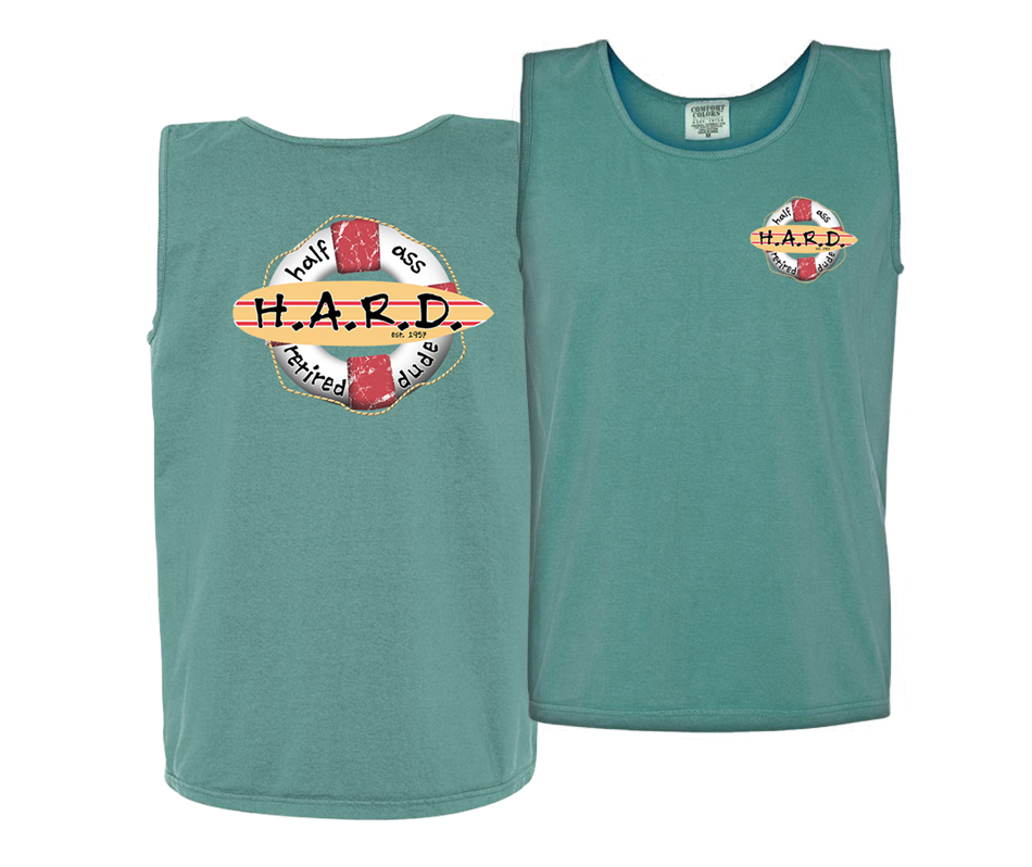 half ass retired dude men's tank top green with buoy image