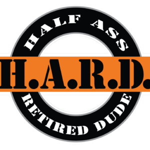 black and orange half ass retired dude logoed sticker