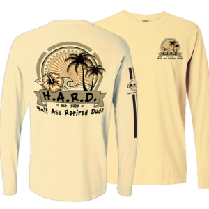 palm tree and flower image long sleeve butter colored shirt
