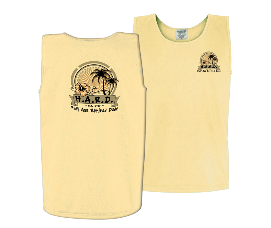 half ass retired dude men's tank top butter yellow with buoy image