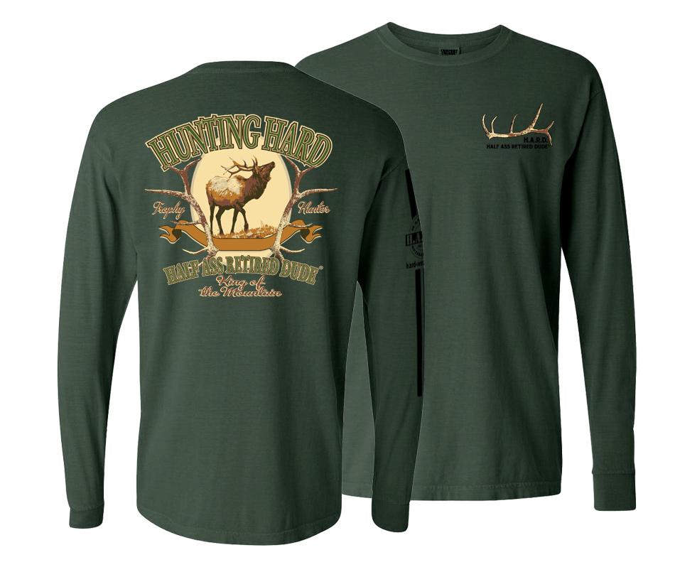 Hunting Hard Elk Long Sleave Willow Green Shirt