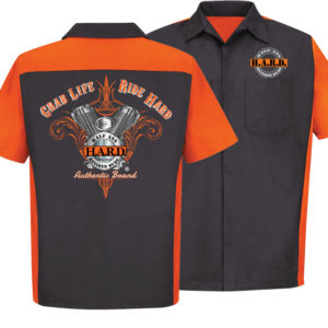 Bad Ass Biker Mechanic Charcoal Orange shirt