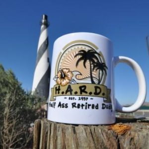 half ass retired dude palm tree white coffee mug