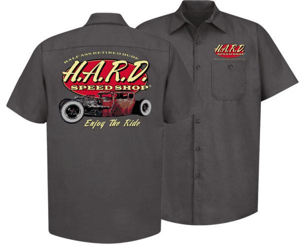 half ass retired dude charcoal colored speed shop mechanics shirt