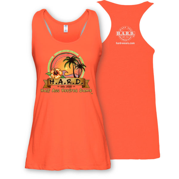 half ass retired dame orange colored woman's tank top with palm tree image