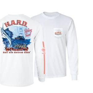 half ass retired dude white long sleeve fishing team shirt