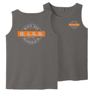 half ass retired dude pepper colored tank top