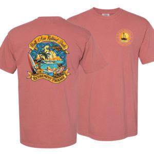 half ass retired dude cumin colored sailing t-shirt