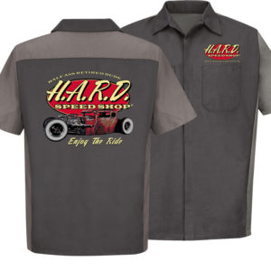 half ass retired dude charcoal and grey colored speed shop mechanic shirt