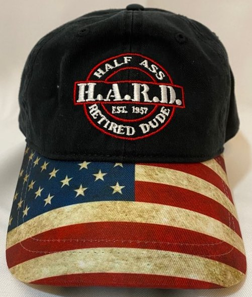 half ass retired dude black baseball snap back hat with american flag bill