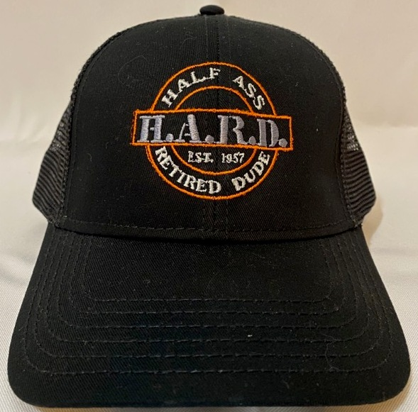 half ass retired dude black baseball snap back hat